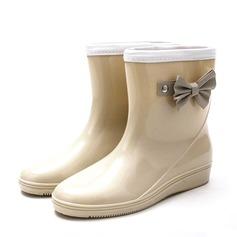 Frauen PVC Keil Absatz Keile Stiefel Regenstiefel mit Bowknot Schuhe (088146821)