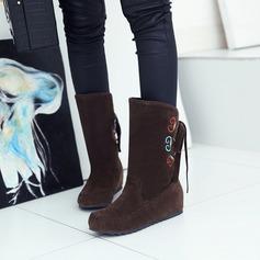 Frauen Veloursleder Flascher Absatz Flache Schuhe Geschlossene Zehe Stiefel Stiefel-Wadenlang mit Bowknot Andere Schuhe (088126572)