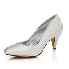 Frauen Satin Kegel Absatz Geschlossene Zehe Absatzschuhe Färbbare Schuhe (047088639)