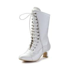 Женщины Атлас Устойчивый каблук Ботинки Закрытый мыс (047033113)