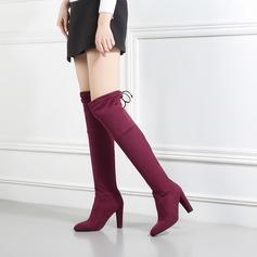 Frauen Veloursleder Stämmiger Absatz Absatzschuhe Stiefel mit Bowknot Schuhe (088138195)