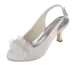 Frauen Satin Spule Absatz Geschlossene Zehe Absatzschuhe Slingpumps mit Nachahmungen von Perlen (047060331)