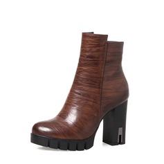 Frauen PU Stämmiger Absatz Absatzschuhe Stiefel mit Reißverschluss Schmuckabsatz Schuhe (088136940)