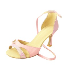 Kvinnor Satäng Glittrande Glitter Klackar Sandaler Latin med Sotled Rem Dansskor (053026472)