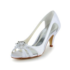Women's Satin Cone Heel Peep Toe Sandals With Imitation Pearl (047039434)