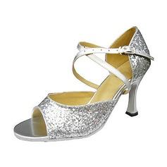 Kvinnor Glittrande Glitter Klackar Sandaler Latin med Sotled Rem Dansskor (053013043)