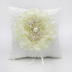 Elegant Rose Ring Pillow in Lace/Cloth With Flowers (103190796)