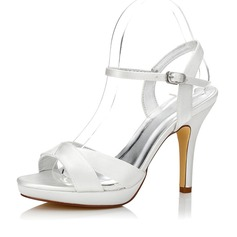 Frauen Satin Stöckel Absatz Sandalen Slingpumps Färbbare Schuhe (047088678)