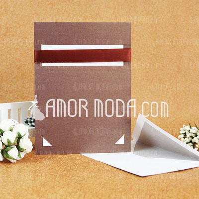 Classic Style Flat Card Invitation Cards With Ribbons (Set of 50) (114030777)