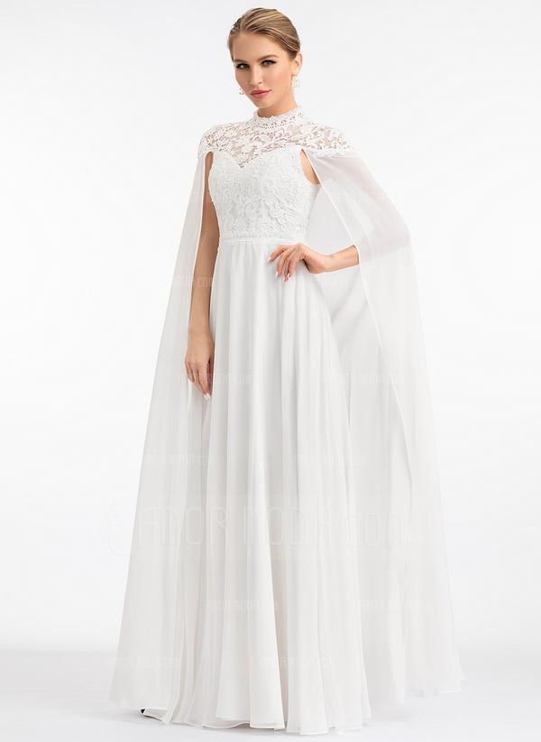 A-Line High Neck Floor-Length Chiffon Wedding Dress (002207443)