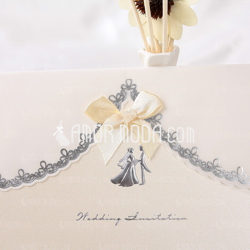 Bride & Groom Style Top Fold Invitation Cards With Ribbons (Set of 10) (114032370)