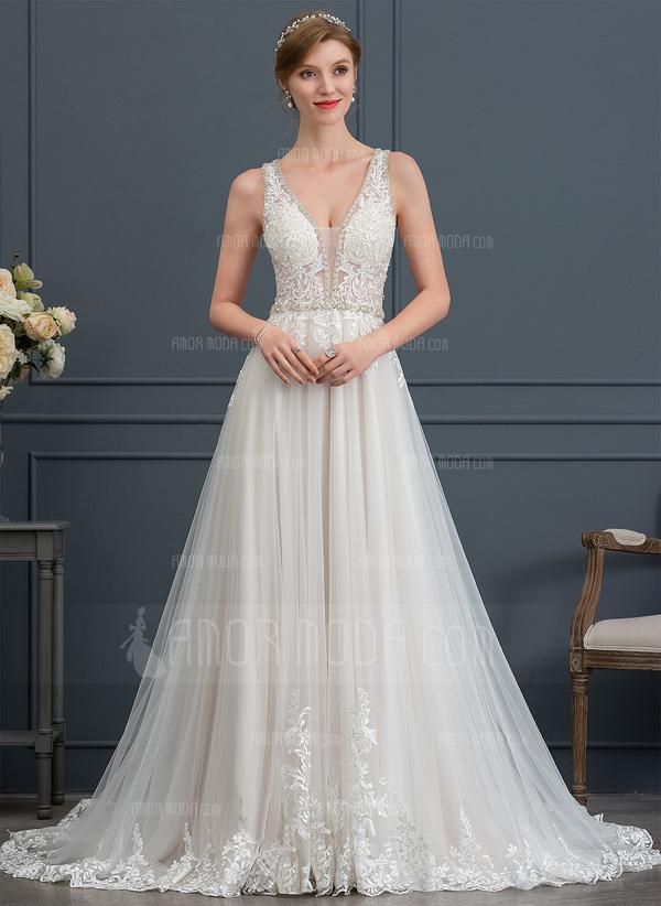 200f999b97c4 Balklänning/Prinsessa V-ringning Court släp Tyll Bröllopsklänning med  Beading Paljetter (002171931) ...