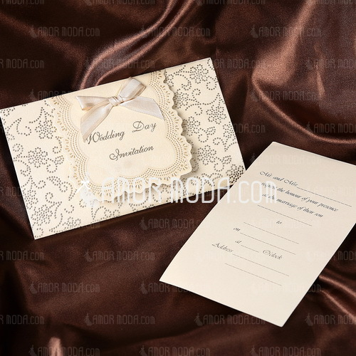 Classic Style Tri-Fold Invitation Cards With Ribbons (Set of 50) (114032380)