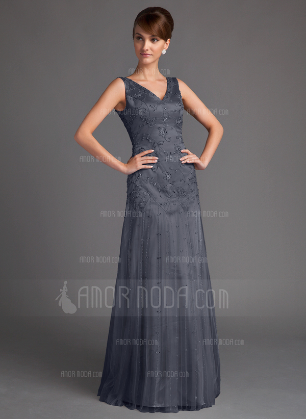 A-Line/Princess V-neck Floor-Length Tulle Mother of the Bride Dress With Beading Sequins (008005647)