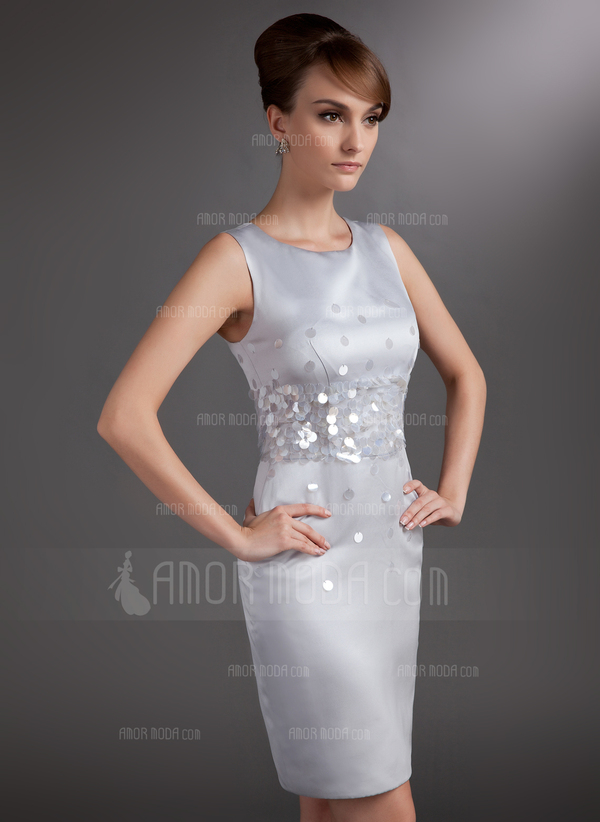 Sheath/Column Scoop Neck Knee-Length Satin Mother of the Bride Dress With Sequins (008006017)