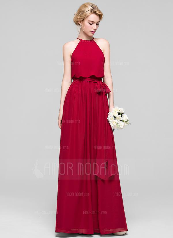 Vestidos princesa/ Formato A Decote redondo Longos Tecido de seda Vestido de baile com Curvado (018103290)