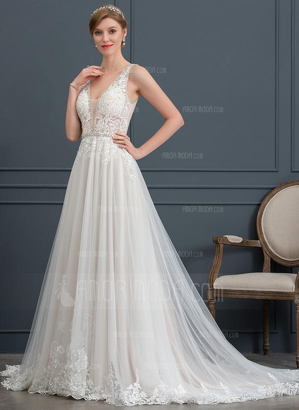a6c5bcde2e50 ... Balklänning/Prinsessa V-ringning Court släp Tyll Bröllopsklänning med  Beading Paljetter (002171931) ...