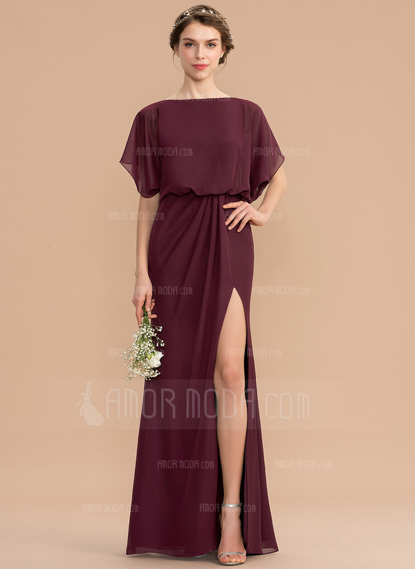 Sheath/Column Scoop Neck Floor-Length Chiffon Bridesmaid Dress With Ruffle Split Front (007176775)