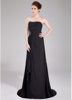 A-Line/Princess Sweetheart Sweep Train Chiffon Bridesmaid Dress With Beading Cascading Ruffles (007004180)