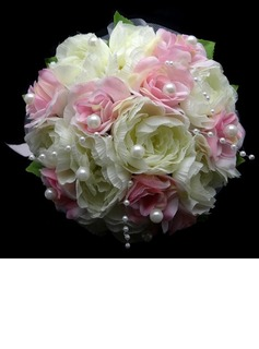 Lovely Round Satin Bridal Bouquets (123031433)
