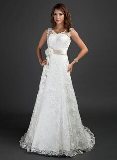 Трапеция/Принцесса V-образный Церемониальный шлейф Кружева Свадебные Платье с Лента развальцовка Цветы (002000187)