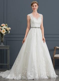 3063c0faee1f Balklänning/Prinsessa V-ringning Court släp Tyll Bröllopsklänning  (002171952)
