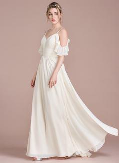 Corte A Longos Tecido de seda Vestido de noiva com Babados em cascata (002120296)
