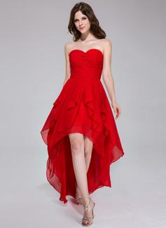A-Line/Princess Sweetheart Asymmetrical Chiffon Holiday Dress With Cascading Ruffles (020037394)