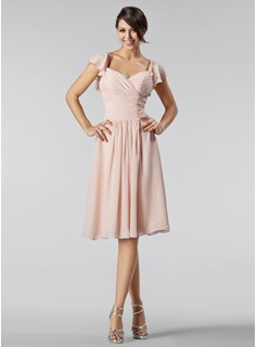 A-Line/Princess Sweetheart Knee-Length Chiffon Bridesmaid Dress With Beading Cascading Ruffles (007005233)