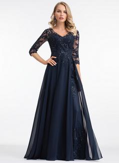 A-Line V-neck Floor-Length Chiffon Evening Dress (017198654)