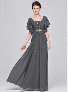 A-Line Sweetheart Floor-Length Chiffon Mother of the Bride Dress With Ruffle Beading Sequins (008058416)