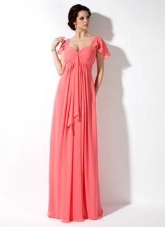 Empire Sweetheart Floor-Length Chiffon Bridesmaid Dress With Cascading Ruffles (007000828)