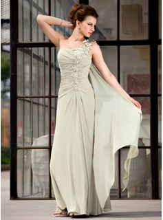 A-Line/Princess One-Shoulder Floor-Length Chiffon Mother of the Bride Dress With Ruffle Appliques Lace (008018731)