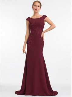 Trumpet/Mermaid Scoop Neck Sweep Train Stretch Crepe Evening Dress With Lace (017198642)