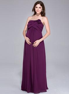 Império Sem Alças Longos Tecido de seda Vestido para madrinha grávida com fecho de correr Babados em cascata (007026199)