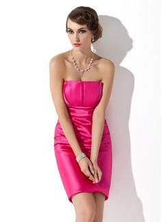 Sheath/Column Scalloped Neck Short/Mini Charmeuse Holiday Dress With Ruffle (020003257)