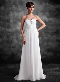 Empire Sweetheart Sweep Train Chiffon Maternity Bridesmaid Dress With Ruffle Lace Beading Sequins (045022472)