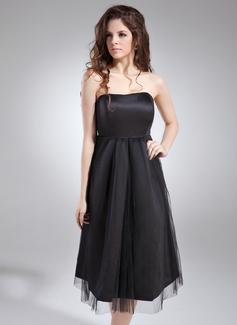 С завышенной талией возлюбленная Длина до колен Атлас Свадебные Платье Для Беременных Невест с Рябь (045004405)