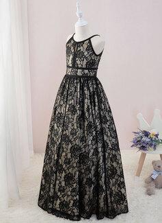 De Baile/Princesa Longos Vestidos de Menina das Flores - Renda Sem magas Decote redondo (Anágua não incluído) (010207223)