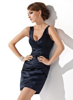 Платье-чехол V-образный Мини-платье Шармёз Коктейльные Платье с Рябь (016008439)