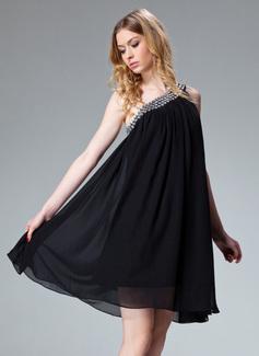 A-Line/Princess One-Shoulder Short/Mini Chiffon Holiday Dress With Ruffle Beading (020003242)