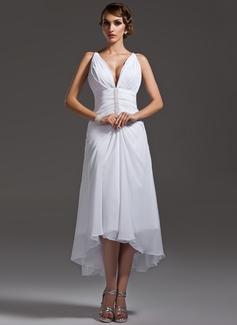 A-Line V-neck Asymmetrical Chiffon Wedding Dress With Ruffle Beading (002004593)