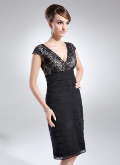 Sheath/Column V-neck Knee-Length Chiffon Lace Cocktail Dress With Ruffle (016008240)