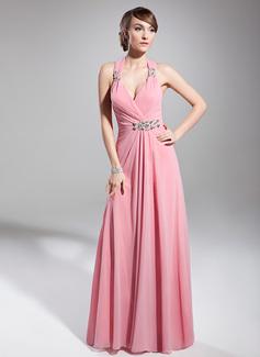 A-Line/Princess Halter Floor-Length Chiffon Holiday Dress With Ruffle Beading (020014711)