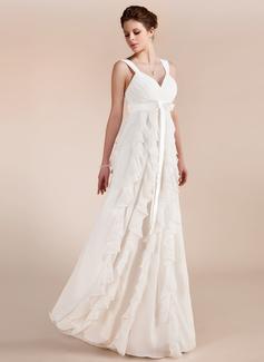 С завышенной талией возлюбленная Длина до пола шифон Свадебные Платье с Бант(ы) Ниспадающие оборки (002011682)
