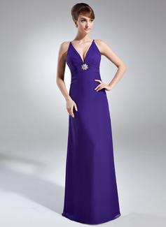Sheath/Column V-neck Floor-Length Chiffon Holiday Dress With Ruffle Crystal Brooch (020003308)