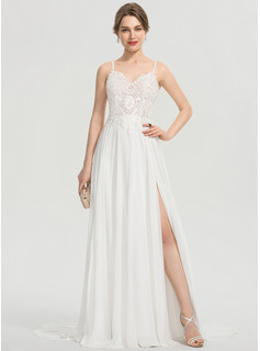 A-Line V-neck Sweep Train Chiffon Wedding Dress With Split Front (002207429)
