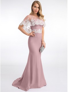 Trumpet/Mermaid Sweetheart Sweep Train Stretch Crepe Evening Dress With Lace (017198656)