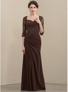 Trumpet/Mermaid Sweetheart Floor-Length Chiffon Lace Mother of the Bride Dress With Ruffle Beading Sequins (008195398)