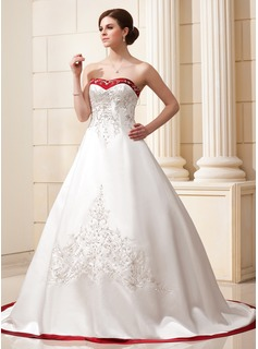 Ball-Gown Sweetheart Chapel Train Satin Wedding Dress With Embroidered Sash Beading Sequins (002004606)